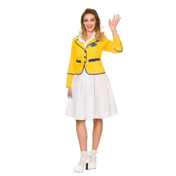 Adults Yellow Coat Holiday Camp Girl Costume Ladies Fancy Dress